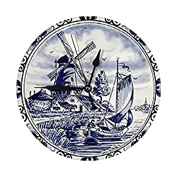 """Alexyuk Dutch Blue Delft Silent Wall Clock, 10"""" Non-Ticking Battery Operated Decorative Wall Clocks, Modern Style for Living Room Bathroom Kitchen School Office"""