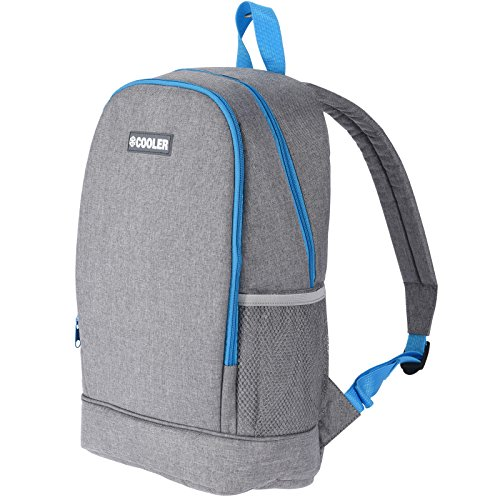 JEMIDI Mochila nevera de 10 litros con función de refrigeración, para camping, aislante, mochila térmica, mochila de senderismo, bolsa refrigeradora, color gris/turquesa