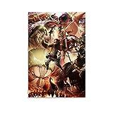 Póster de anime japonés de Shenjin con dibujos animados de ataque a Titán 26 póster decorativo de la pintura de la pared de la sala de estar de 20 x 30 cm