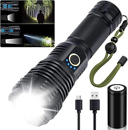 Led Taschenlampe 10000 Lumen, Amzyigou Taschenlampe Aufladbar Extrem Hell, Zoombar Taktische Taschenlampe mit 5 Lichtmodi, Klein Taschenlampe für Camping und Notfälle (26650 Akku) (S)