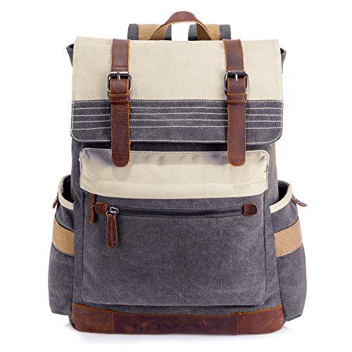 SUVOM Canvas Rucksack, Vintage Schulrucksack, Stilvoller Reiserucksack 15,6 Zoll Laptop Rucksack für Damen Herren
