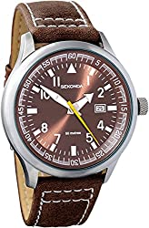 Protective mineral glass window lens Round alloy case Leather strap with buckle clasp Includes date Water resistant to 50 metres