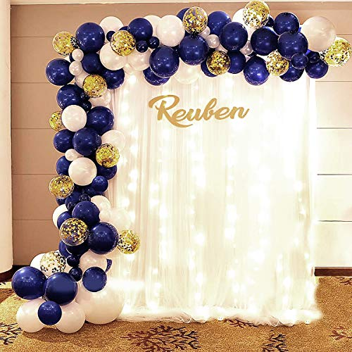 FANSUNY Balloon Garland Arch Kit-Navy Blue and Gold White Balloons-Baby Shower Weeding Birthday Bachelorette Engagements Anniversary Party Backdrop DIY Decorations