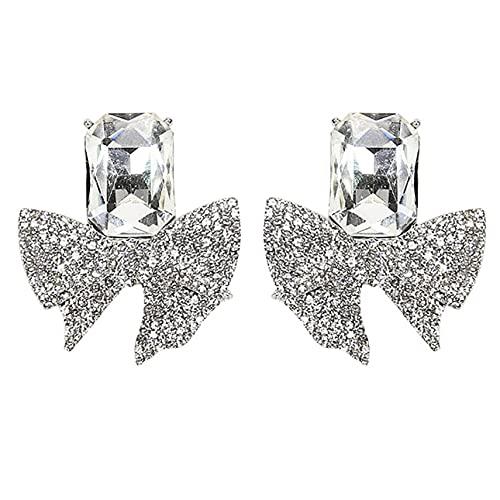 YLXAJKJGS-XCH Pendientes Pendientes de Lazo de Diamantes completos Temperamento Pendientes de Moda Ins de Alta Gama Pendientes de Aguja de Plata Personalizados