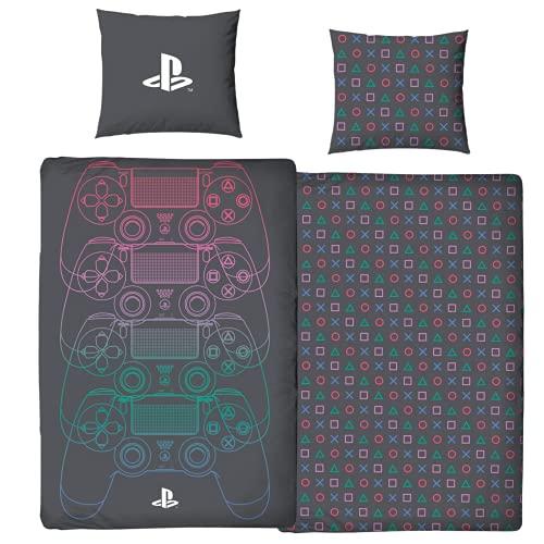 Character World Ropa de cama Playstation 135 x 200 + 80 x 80 tamaño alemán · Consola Playstation · 100% algodón · 2 piezas adolescentes jóvenes ropa de cama