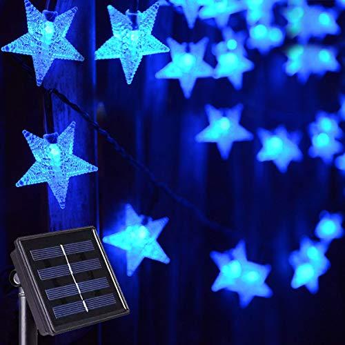 Abkshine Solar String Lights Waterproof,Blue LED Solar Star Fairy Lights for Outdoor Christmas Hanukkah Garden Path Fence Yard Festival Decoration(30ft,50 LED)