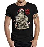 Biker Weihnachts - Camiseta de manga corta, diseño con texto 'Heavy Xmas' Negro XXXXL