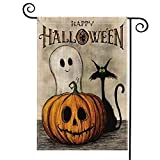 REFURBISHHOUSE GlüCkliches Halloween Garten Flaggen Vertikales Doppeltes Sortiertes, Gespenstisches Geist KüRbis Jack O'Lantern Schwarze Katze Sacwinzigen Yard Au?En Dekoration