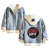 Stray Kids Pullover Falso Dos Piezas Chaqueta con Capucha Ropa Otoño Invierno Estilo de la Universidad diarias de los Hombres Salvajes Unisex (Color : Blue31, Size : M)