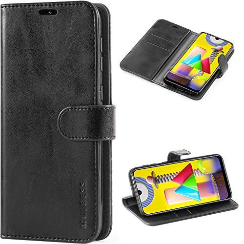 Mulbess Handyhülle für Samsung Galaxy M31 Hülle Leder, Samsung Galaxy M31 Klapphülle, Samsung Galaxy M31 Schutzhülle, Handytasche für Samsung Galaxy M31 Tasche, Schwarz