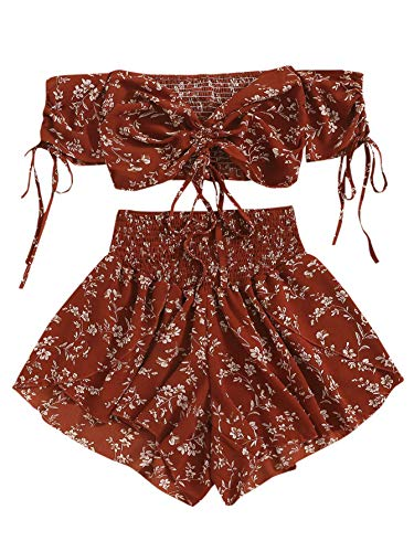 SheIn Women's Boho Floral Two Piece Outfit Off Shoulder Drawstring Crop Top and Shorts Set Large Wine Red