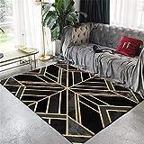 WJTHH Design Tapis Confortable Moquette Salon Tapis Tapis GéOméTrique AntidéRapant Lavable Poil Court Ligne d'or Grand Tapis...