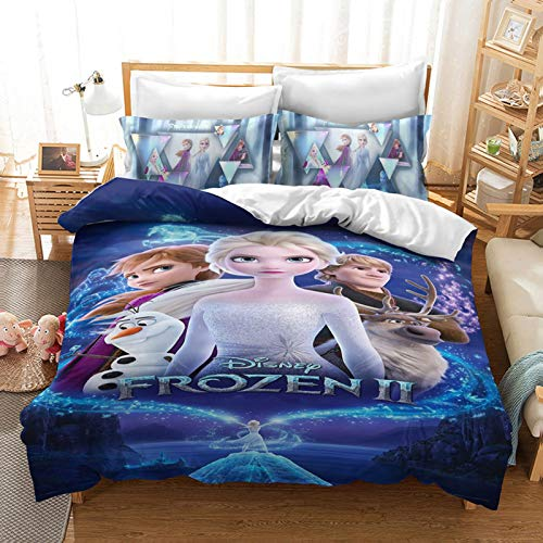 HLSM Disney Frozen Duvet Quilt Cover for Girls,Cartoon Character Elsa Anna Olaf Print Microfiber Bedding Set,for Teens Adults Single Double king Bed (A10,220X240CM)