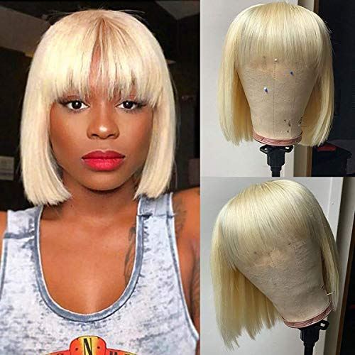 Beauhair Short Bob 613 blonde Human Hair Wigs with Bangs Brazilian Straight Human Hair Short Wigs 150% Density None Lace Front Wigs Glueless Machine Made Wigs for Black Women