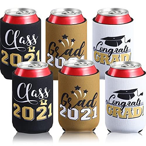 6 Mangas Enfriadoras de Lata de Graduación Cubierta Plegable de Lata de Neopreno de Class of 2021 Funda Decorativa de Cerveza para Favor de Fiesta de Graduación 2021, Dorado, Blanco y Negro