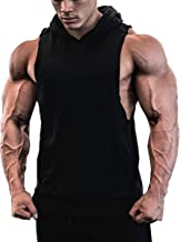 JINIDU Men's Workout Hooded Tank Tops Sleeveless Gym Hoodies with Pockets