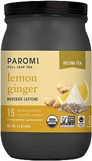 Paromi Tea Organic Lemon Ginger Oolong Tea, 15 Pyramid Tea Bags - Non-GMO