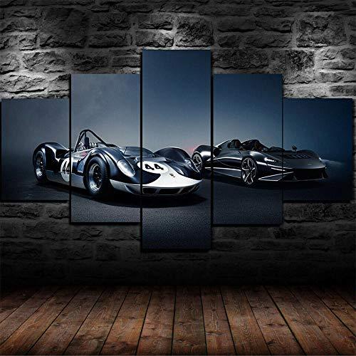YOPLLL 5 Piezas Lienzo Grandes XXL Murales Pared Hogar Pasillo Decor Arte Pared Abstracto HD Impresión Foto Coche Superdeportivo Elva 150X 80Cm(Enmarcado)