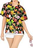 HAPPY BAY Playa Tropical Hawaiano Camisa de Traje de baño de Verano de Las Mujeres Negro_AA284 M