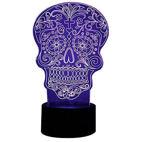 Wangzj Dedo medio 3d Ilusión óptica Lámpara de escritorio / 7 colores Cambiar botón táctil Luz nocturna/visualización Efectos de iluminación Arte Escultura LuzFlor Cráneo