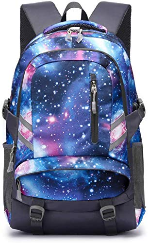 HLSX School Backpack, Laptop Backpack for Boys Girls Fits 15.6 inch Laptop Unisex Lightweight 30L College Rucksack Daypack,A-galaxy