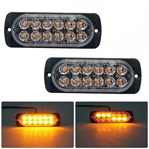 Baceyong 12 LED estroboscópico luz flash emergencia advertencia ámbar lámpara súper brillante durable para coches, SUV, furgoneta, camioneta y camiones