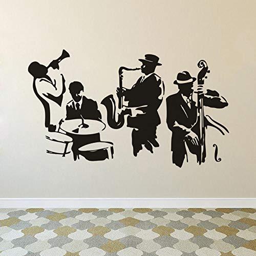 Muursticker muziek speler vinyl muursticker muziekinstrument muurschildering trommel bass saxofoon speler wandtattoo kunst muziek band 71x42cm