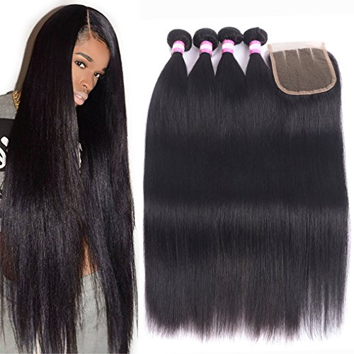 8A Brazilian Remy Hair With Lace Closure Straight Human Hair 4 Bundles Weave With 4x4 Closure Unprocessed Virgin Straight Hair Extension Natural Color (18 20 22 24+Closure 16)