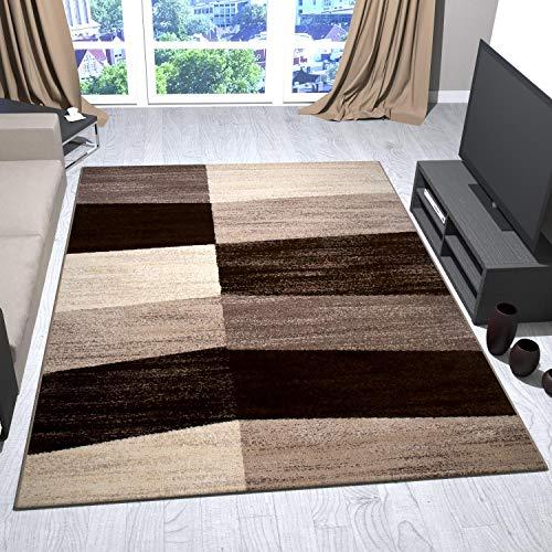 VIMODA Teppich Modern Beige Braun Geometrisches Flächen, Maße:200x290 cm