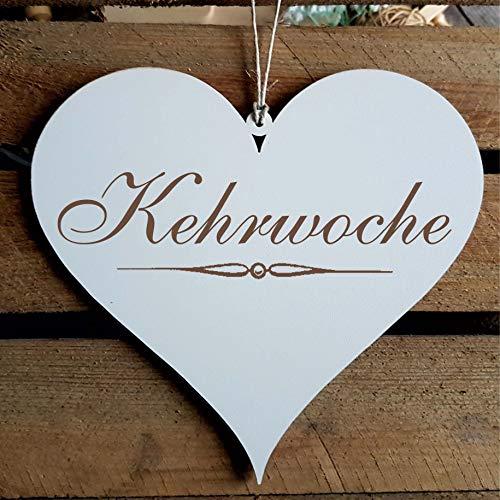 KEHRWOCHE Schild Herz ca. 13 x 12 cm - Türschild Hausordnung