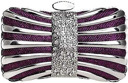BDBT Women's Evening Handbags Metal Evening Bag European and American Women's Dinner Party Banquet Dress Clutch (Color : Purple)