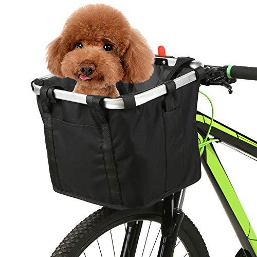 Festnight Cesta de Bicicleta Plegable con Estampado de Flores,Gato, Perro, Bolsa de Transporte, Manillar de Bicicleta Desmontable, Cesta Delantera, Bolso Delantero de Ciclismo, Bolso de Mano
