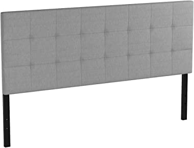 Amazon Basics Faux Linen Upholstered Tufted Headboard - King, Grey