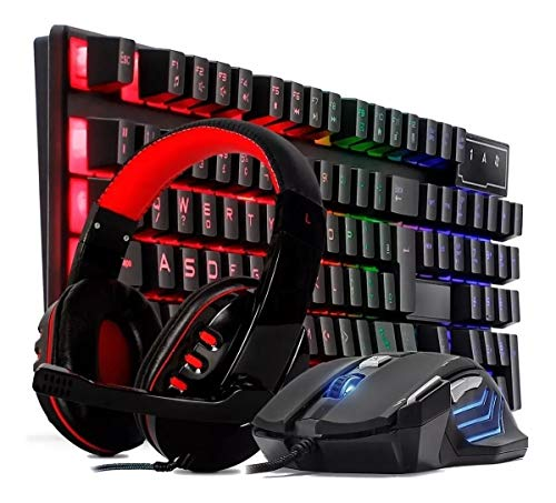 Kit Teclado Semi Mecânico Gamer Multimídia Usb Rgb Com Mouse 3200dpi Laser 7 Botões e Headset Estéreo com Microfone
