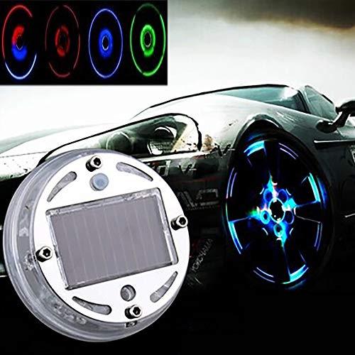 GJQDDP Lumière de Roue de Voiture, LED colorée Roue Solaire Pneu lumière 4 Mode Flash Roue lumière étanche Pneu Valve Bouchon Voiture véhicule Moto lumière stroboscopique kit