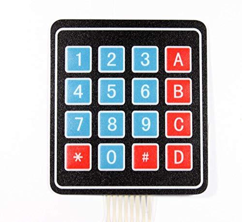 Paradisetronic.com Folientastatur, 4x4 Matrix, 16 Taster, 3.3V 5V Membrane Keypad Tastatur für z.B. Arduino, Raspberry Pi