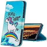 MRSTER Cover per Samsung Galaxy A40, Moda Bello Custodia a Libro in Pelle PU Flip Portafoglio Custodia Shockproof Resistente Case per Samsung Galaxy A40. HX Rainbow Unicorn