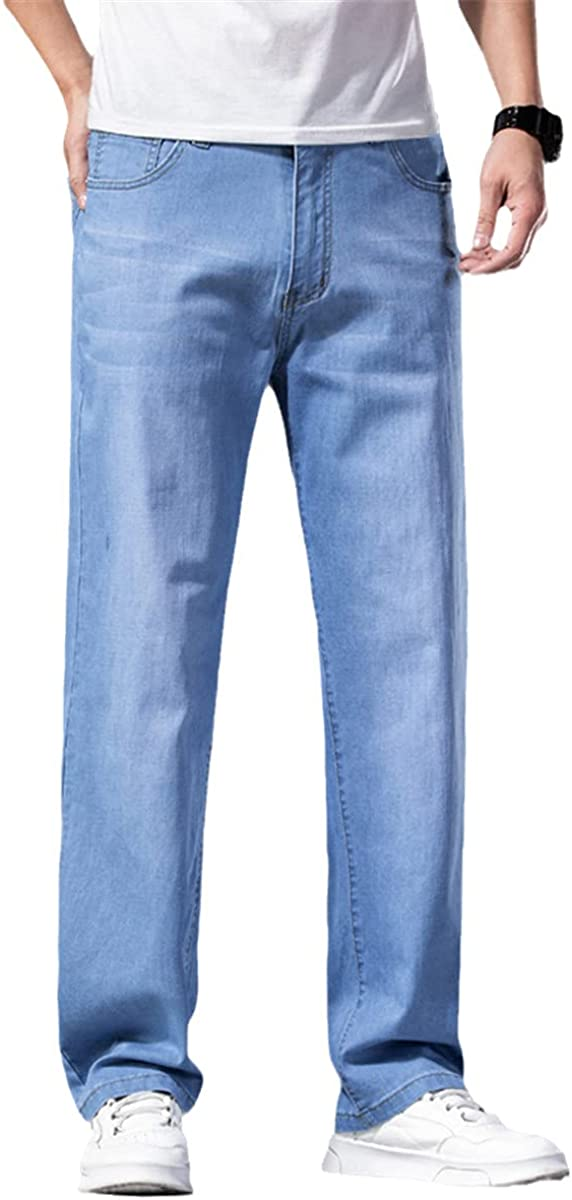 Summer Men's Light Blue Jeans Plus Size Loose Straight-Leg Jeans Men's Classic Trousers