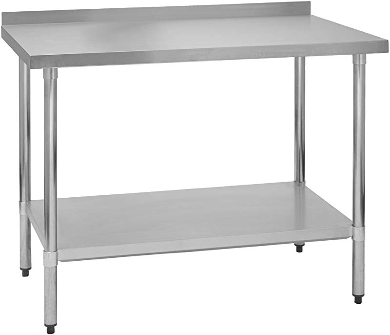 Fenix Sol Stainless Steel Commercial Kitchen Work Prep Table 30 W X 36 L X 36 H 2 Backsplash