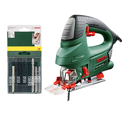 Bosch Stichsäge PST 900 PEL (620W, Hubzahl bei Leerlauf 500 bis 3100 U/min, in Kunststoffkoffer) + 10-teilige Stichsägeblatt Set (für Holz/Metall/Kunststoff, T-Schaft, Zubehör für Stichsäge)