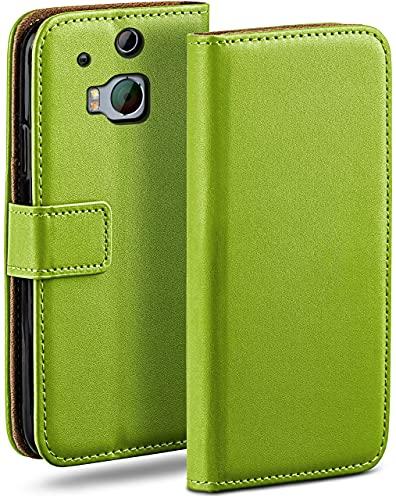 moex Klapphülle für HTC One M8 / M8s Hülle klappbar, Handyhülle mit Kartenfach, 360 Grad Schutzhülle zum klappen, Flip Hülle Book Cover, Vegan Leder Handytasche, Grün