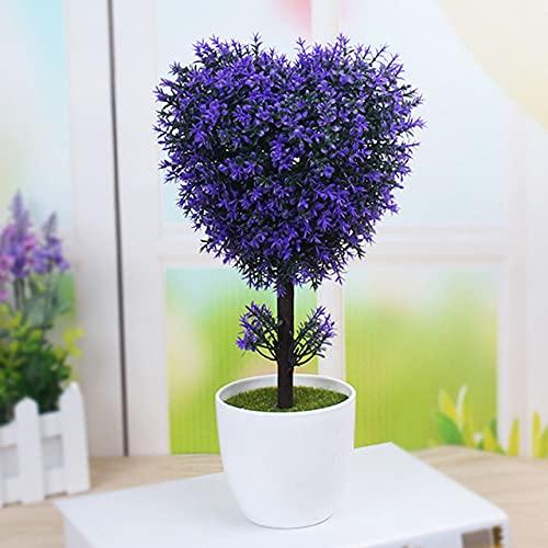 Plantas Artificiales Bonsai Árbol de simulación de plástico Maceta de Escritorio Flores Falsas Decorativas Hojas Decoración de Plantas de jardín Forma de corazón, Corazón púrpura