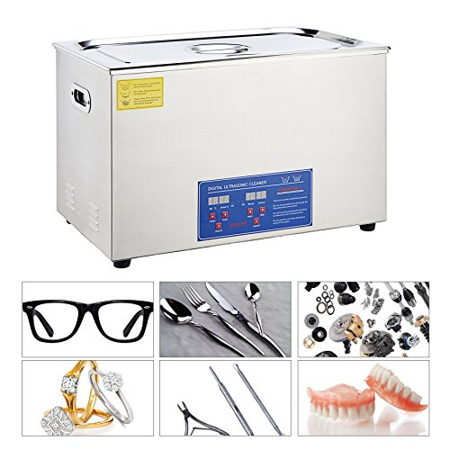 CO-Z 30L Digital Professional Large Ultrasonic Jewelry Cleaning Machine Cleaner with Heater, Timer (1400 W, 10x60 W Transducers, 110V)