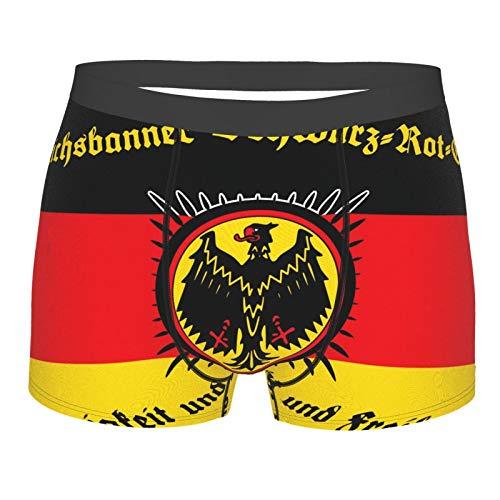 XISDHG Herren Boxershorts Komfort Neuheit Design Eastic Bund Trunks Unterwäsche für Männer Flagge Reichsbanner Flagge Deutschland Gr. L, Schwarz