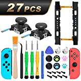 Joycon Joystick Replacement, 2 Pack, Switch Analog Stick Parts for Nintendo Switch Joy Con, Controller Repair Kit Include Thumb 3D Sticks, Left & Right Slider Set, Metal Buckles, and Repair Tool Kit