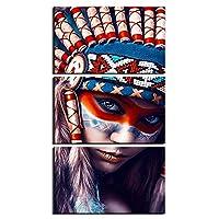 キャンバス油絵インディアヌーインカラー羽モダンな抽象HDプリント3個キャンバスアート絵画ウォールアートワークリビングルームベッドルーム装飾 (Color : C, Size (Inch) : 40cmx60cmx3)