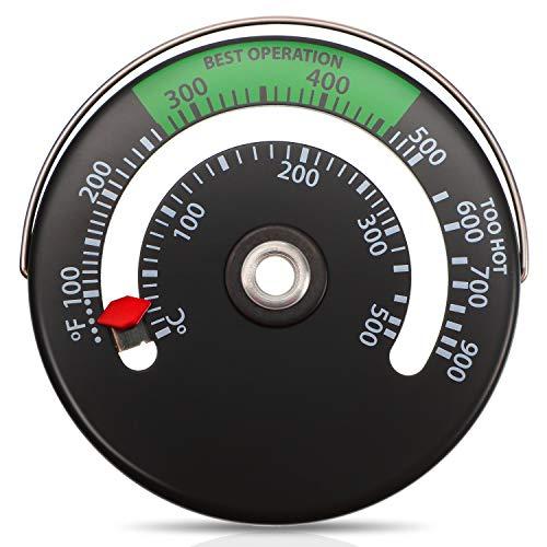 Termómetro de Estufa Magnético Termómetro de Tubo de Estufa de Fuego Medidor para el Medidor de Temperatura del Horno de Tubo de Chimenea de Leña (1)