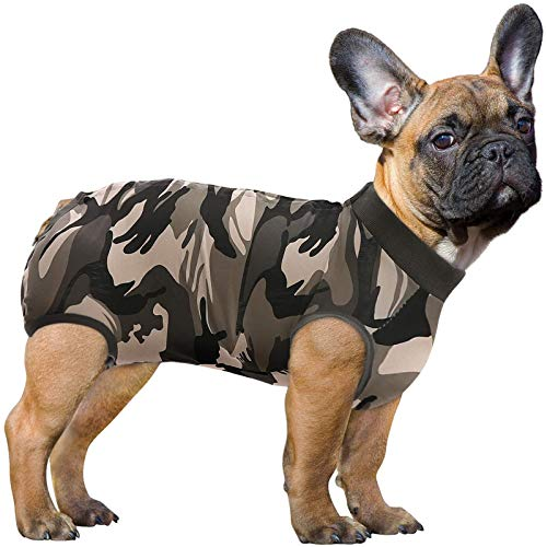 SAWMONG Recovery Suit for Dog, Dog Recovery Shirt for Abdominal Wounds or Skin Diseases, Pet Surgery Recovery Snugly Suit, Anti Licking, Substitute E-Collar & Cone