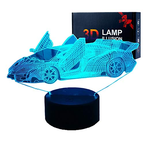 3D Illusion Lamps LED Sport Car Night Lights USB Remote Control 16 Colors Changing Desk Lamp for Kids Christmas Birthday Gifts Home Decoration