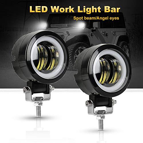 Luz LED de conducción, 2 unidades Cree de 20 W 6000 K, haz de foco redondo LED de trabajo para todoterreno 4x4, camioneta, motocicleta, Jeep SUV, camión, Wrangler, barco, tractor